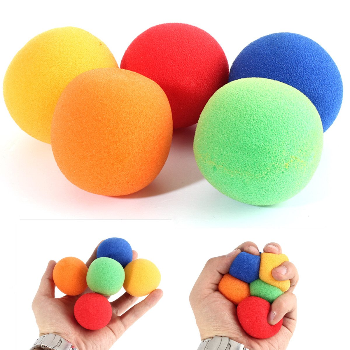 5pcs/set 5 color 4.5cm large size Close Up Magic Street Classical Comedy Trick Soft Sponge Balls
