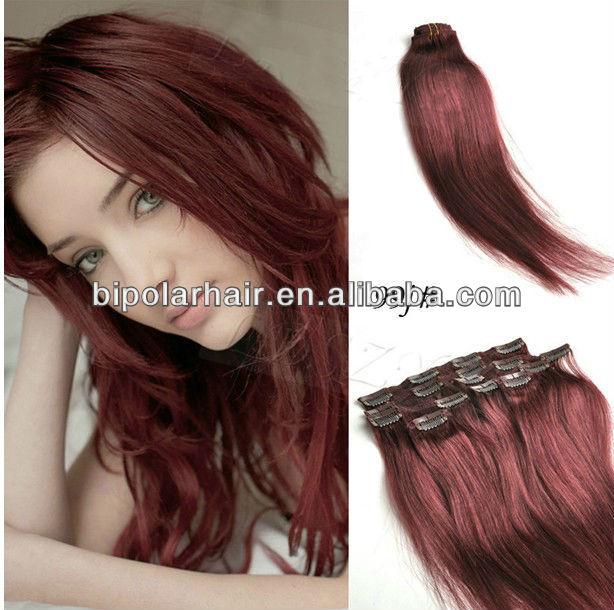 Burgundy Wine Red Clip In Hair Extensions Human Hair Buy Clip In