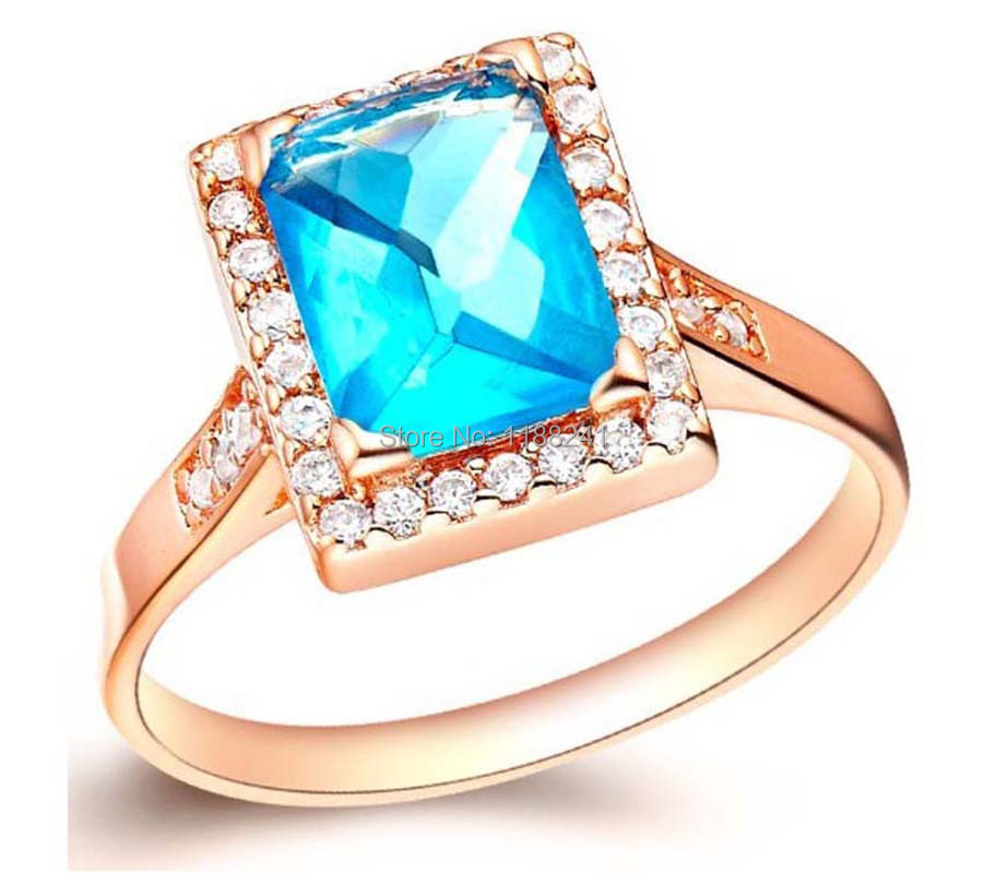 10pcs/lot Yellow Gold Filled Aquamarine Sapphire Ring Lady's 10KT Finger Rings For Women Jewelry Size 8 2014 Wholesale