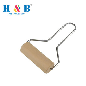 Stainless Steel Handle Wood Clay Roller Pottery Rolling Pin Modelling Tool