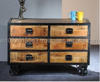 Industrial Reclaimed Wood Chest Of 6-drawer On Wheels