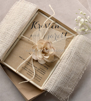 Rustic Chic Vintage Burlap Theme Bridesmaid Invitations With Lace