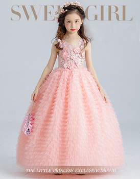 ea3a1ce0f5 New Arrival High quality Angel Pink Wedding dress Puffy Flower girls Long  Dress Princess Fashion for