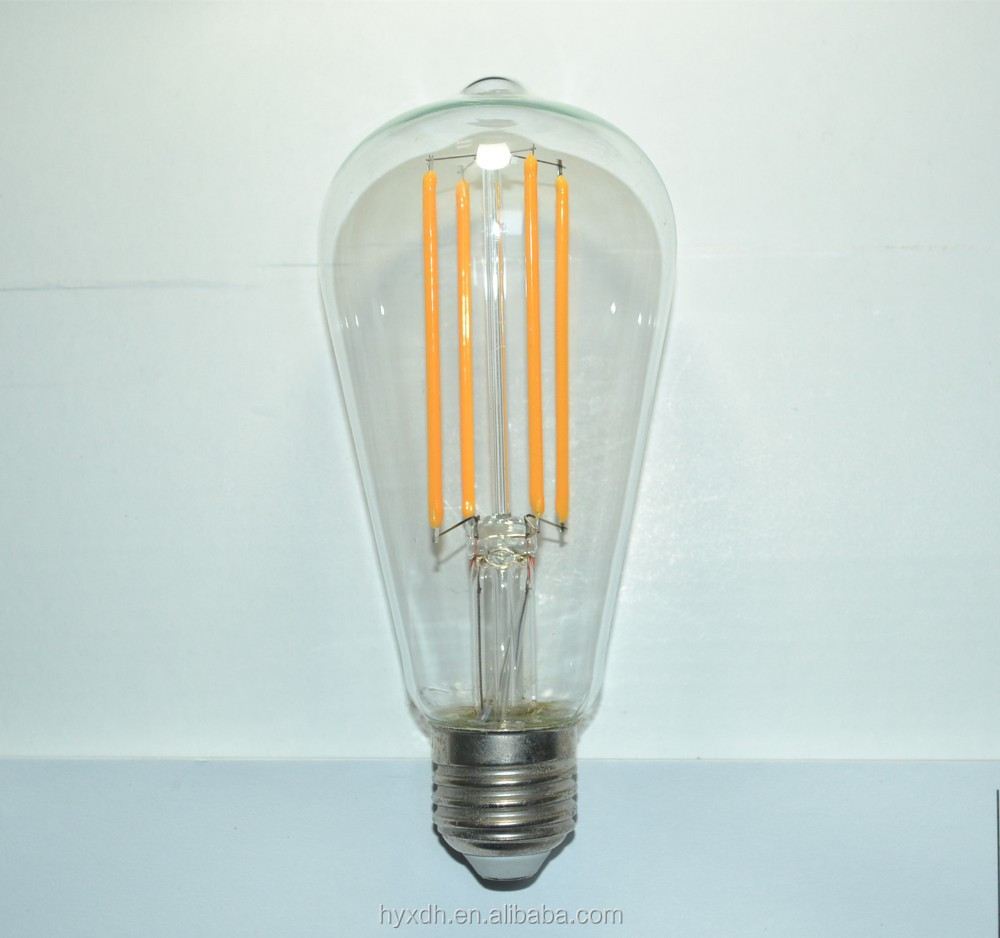 Vintage style edison ST64 bulb 6W 8W dimmable led filament light lamp