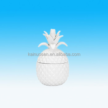 Wholesale Unique White Pineapple Shaped Ceramic Jar With