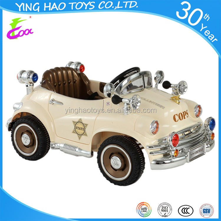 Battery Operated Ride On Police Toy Car For Kids 6V 2.4G Remote Control Toy Car with Music