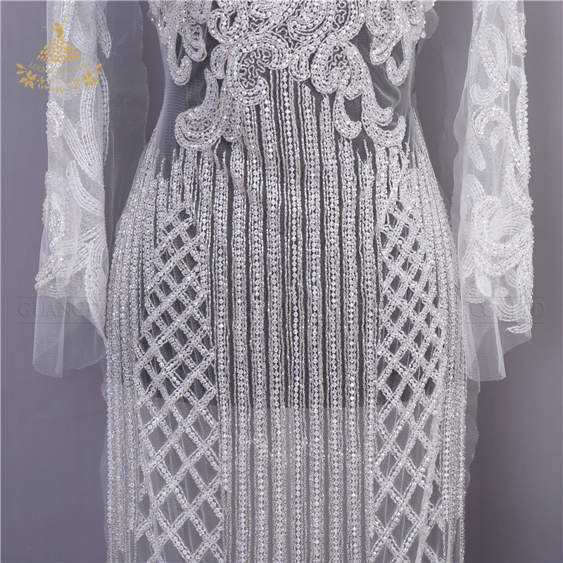 Newly designed sew-on embroidery beaded 3d flower crystal lace fabric bodice rhinestone applique patches