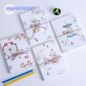 2018 New design latest stationery products Beautiful illustration hand drawn soft cover cheap bulk notebooks promotional notepad