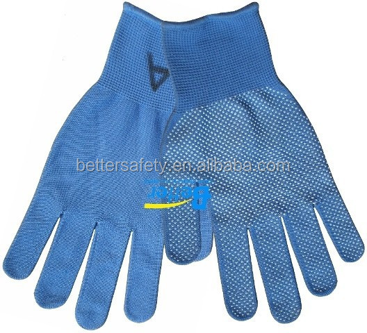 13G Polyester Liner With Mini PVC Dots Garden Glove Blue