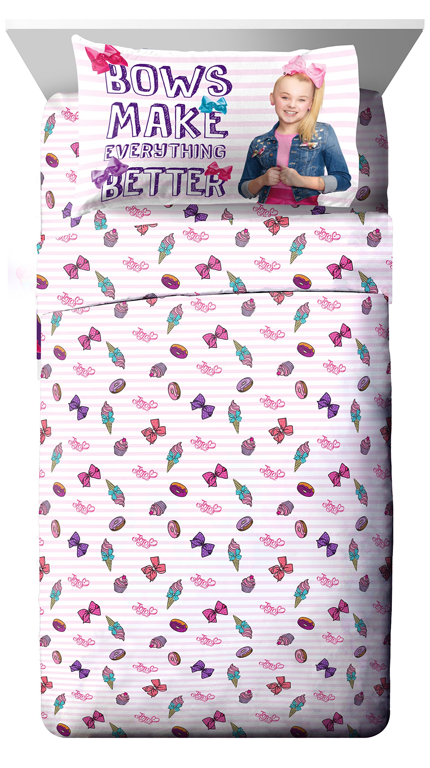 Nickelodeon JoJo Siwa Sweet Life Pink/White 3 Piece Twin Sheet Set
