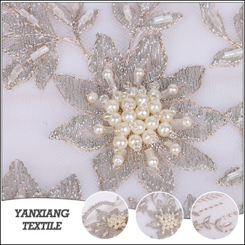 Factory price wholesale fashion beautiful embroidered tulle lace fabric for wedding