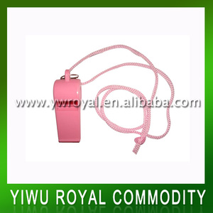 Promotional Cheap Pink Plastic Whistle With String