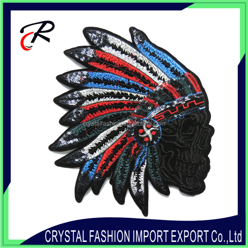 Native American headdress feather indian embroidery patch sequin applique