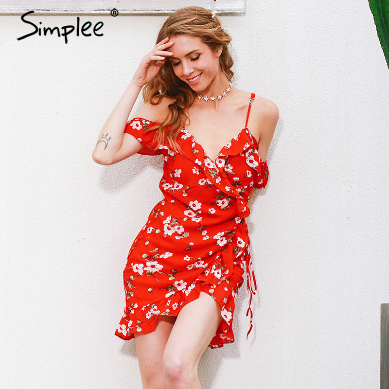 Simplee 2017 cold shoulder high waist floral print boho <strong>dress</strong> for travelling