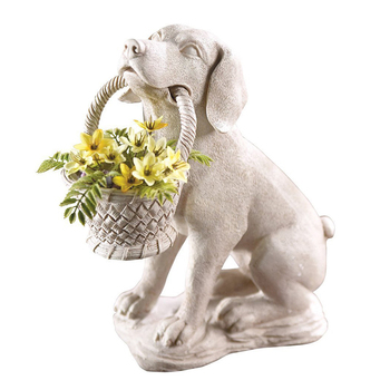 Resin White Outdoor Puppy Dog Statue With Basket Planter For Decoration