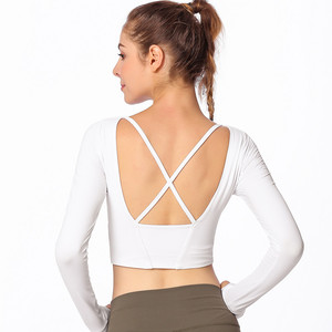 Women back crossing underwire bra sport yoga shirt fitness long sleeve vest with bra
