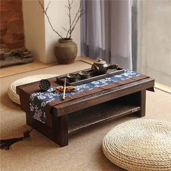 Small Living Room Rustic Design: Oriental Antique Furniture Design Japanese Floor Tea Table