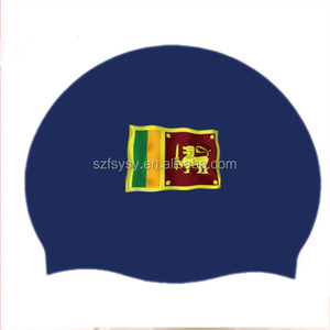 Factory Manufacture High Quality Cheap National Flag Silicone Swim Cap