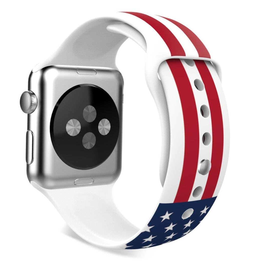 For Apple Watch Band , HP95(TM) US Flag Pattern Sports Silicone Bracelet Strap Band For Apple Watch 38mm/ 42mm all Model, Replacement, Adjustable Watch Band (38mm, US Flag)