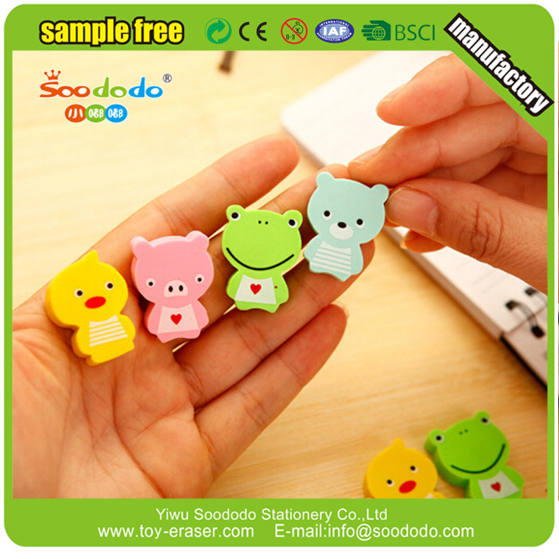 2D Extruded Multi Color Cute Animal Erasers For Promotion