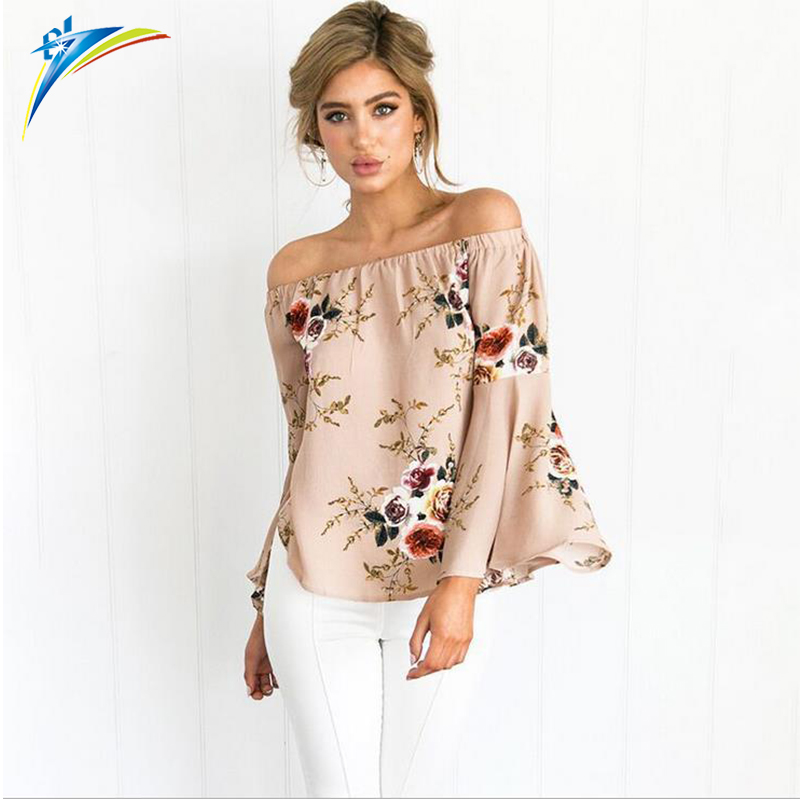 2019 hot sale latest designs women print shirt trumpet sleeve loose off shoulder tops blouse фото