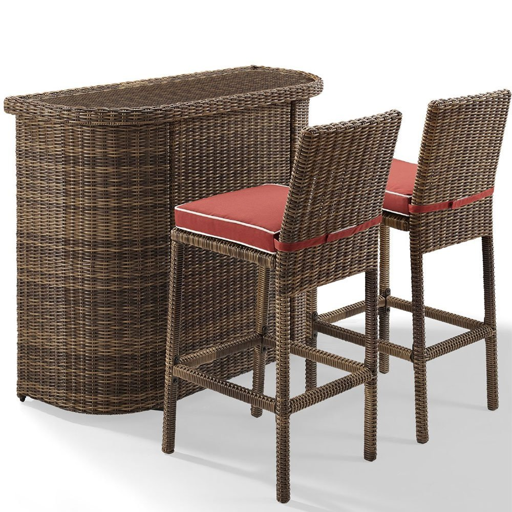 Crosley Furniture 3-Piece Bradenton Outdoor Wicker Bar Set with Two Stools and Cushions - Sangria