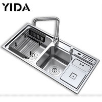 Double Sink Stainless Steel With Board Accessories