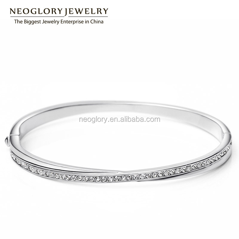 Neoglory Charm Bracelets & Bangles Auden Rhinestone Jewelry for Women Platinum Plated Bijoux Wholesale Gifts