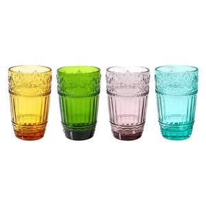 Vintage Design Colored Water Glasses Embossed Design Glass Tumblers