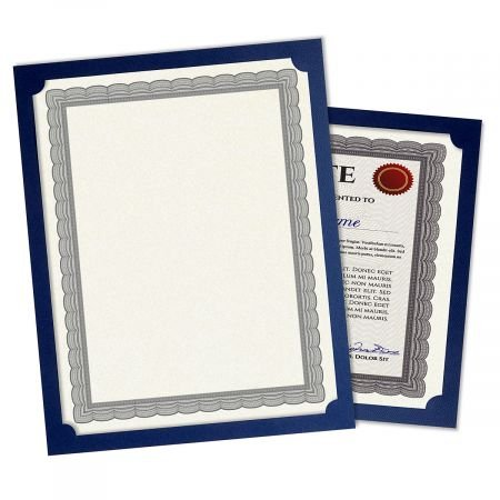 "Plain Blue Certificate Holder - Set of 25, 9-1/2"" x 12"" Folded with Diecut Corners on 80 lb. Linen Cover Stock"