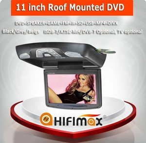 Hifimax 11 inch Roof Mounted DVD+SPEAKER+GAME+FM+IR+SD+USB+MP4+DIVX (Digital screen)