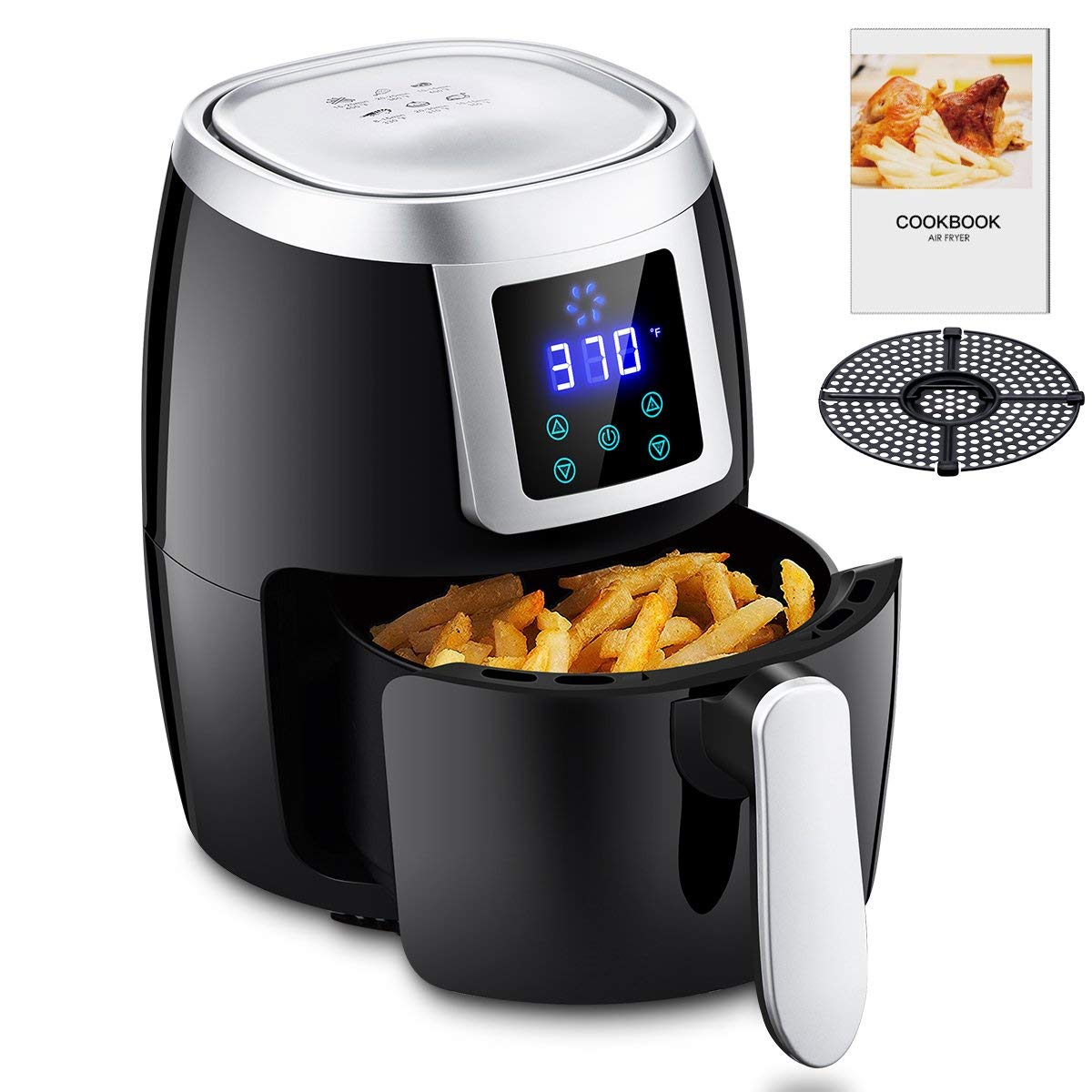 Mini Air Fryers 1000W 2L/2.2QT, Oil-less Air Cooker with Recipe Cookbook & Oil Draining Rack Hot Air Electric Air Fryer Intelligent Touch Screen LED Control-Black