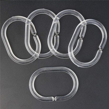 Round Shower Curtain Rings for Bathroom Shower Window Rod,Plastic Shower Curtain Rings Hooks