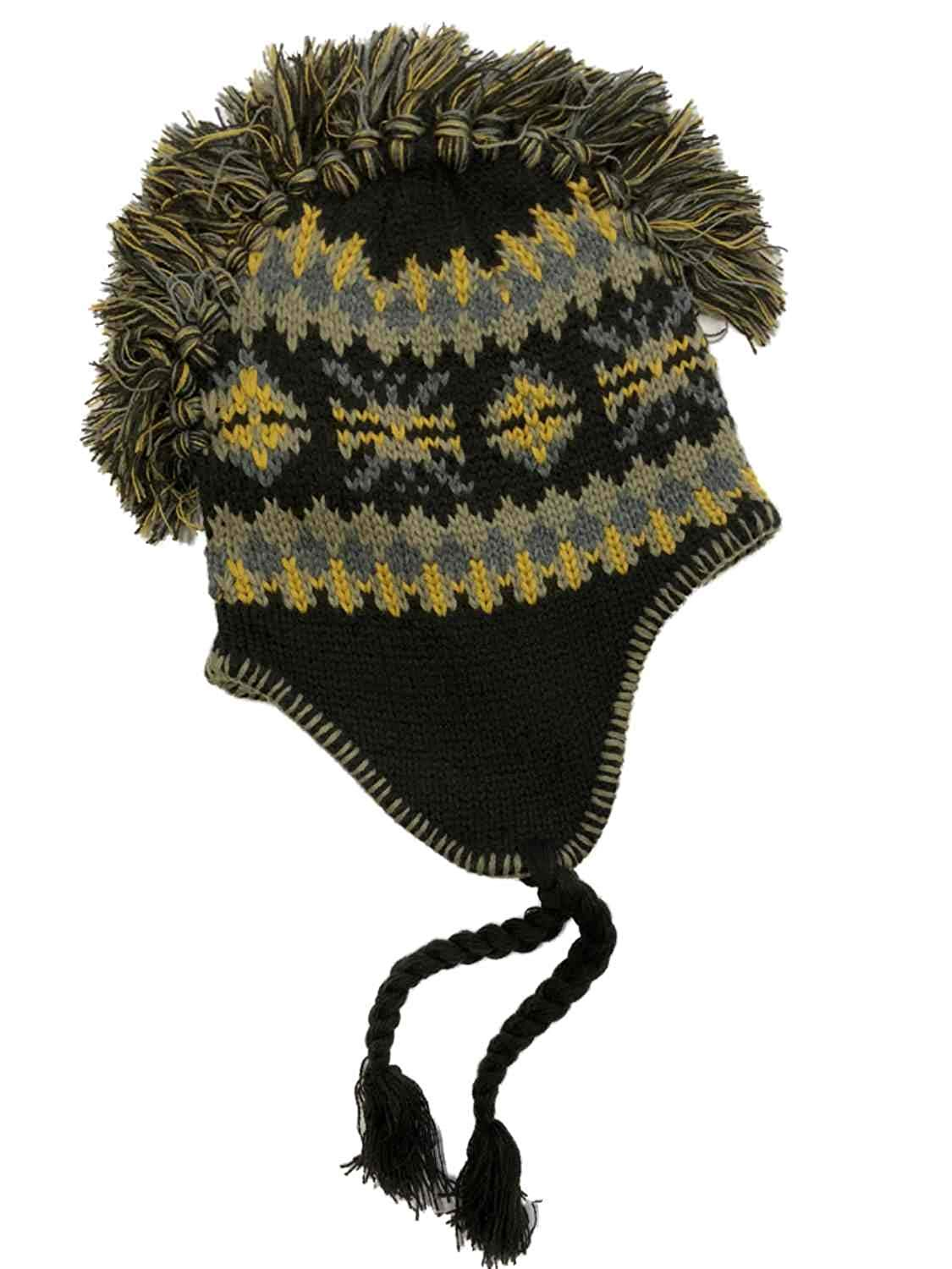 a95cda849a5 Get Quotations · Free Authority Mens Brown   Yellow Snowflake Mohawk Style  Peruvian Trapper Hat