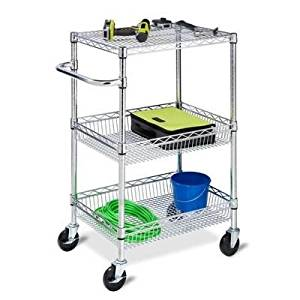HONEY-CAN-DO INTERNATION CRT-01451 Honey-Can-Do International - 3-Tier Chrome HD Urban Rolling Cart - CRT