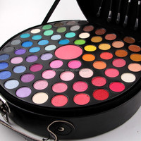 Portable 65 colors eye shadow plate blush makeup box round cosmetic case