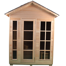 4 person traditional outdoor sauna room with harvia heater