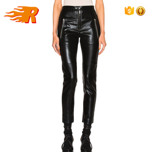 Fashion High Waisted Tight Black Faux Leather Biker Pants Women With Front Zip Pockets