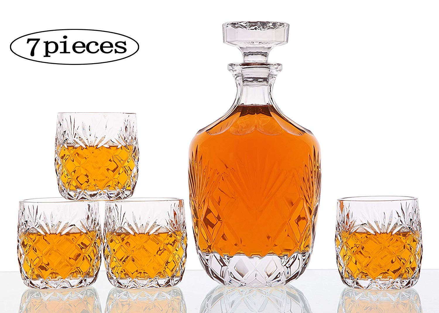 5-Piece Old Fashioned Glasses Whiskey Glass Set with Glass Whiskey Decanter - ,Elegant Whiskey Decanter with Ornate Stopper and 4 Exquisite Cocktail Glasses ,Perfect Holiday Gift