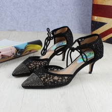 New products women lace dress ladies fancy low heel bridal shoes