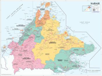 Political Map Of Sabah Buy Malaysia Political Map Sabah Product on