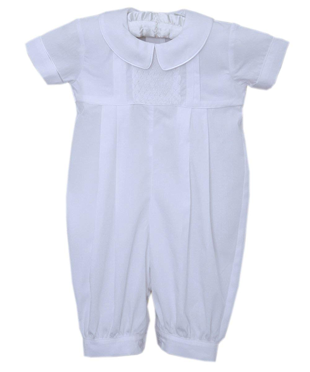 9d8bcd91e Get Quotations · Christening Dedication Boys White Outfit Raphael Smocked  Overalls
