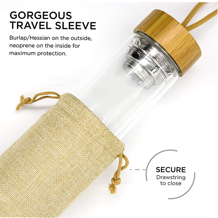 Eco friendly glass mineral water bottle with bamboo lid