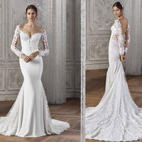 Custom made women elegant long sleeve vestidos de novia sexy backless wedding gown dresses made in turkey mermaid wedding dress