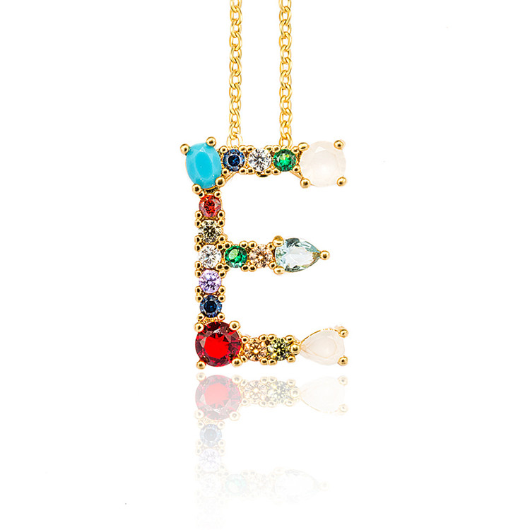 Fashion jewelry Cubic Zirconia initial charms Micro pave CZ letter charms Necklace pendant for jewelry making