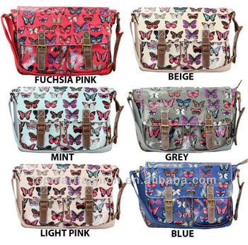 e5b45c06e0 Ladies Oilcloth Butterfly Cross Body Satchel Shoulder Girls School ...