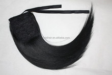 Fashion charming extension products no tangle no shedding soft smooth ribbon wrapped ponytail with clips