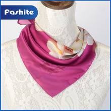 Good quality handmade adjustable print twill 100 silk square scarf for women