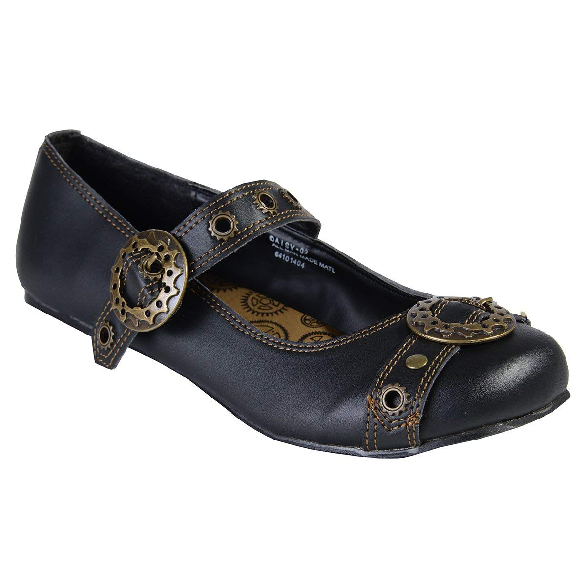 dc005356790 Get Quotations · Summitfashions Black Mary Jane Ballet Flats Steampunk  Gothic Style Buckles