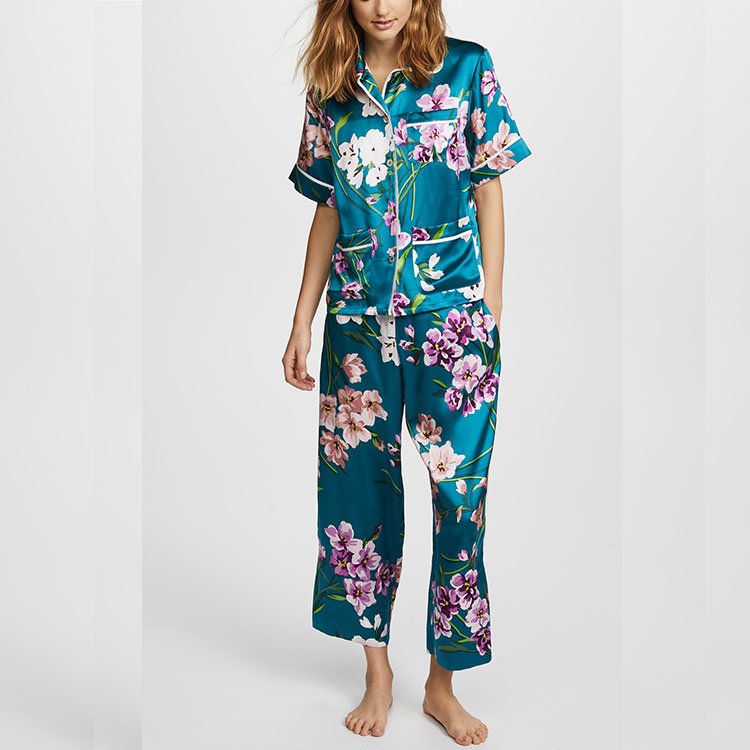 long sleeve kurta straight-cut style bamboo pajama set for women